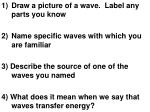 Draw a picture of a wave.  Label any parts you know