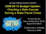 Presented by Gary Rutherford, Ed.D. Superintendent TOWN HALL FORUM February 2009