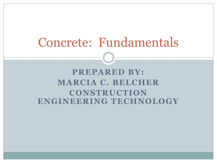 concrete fundamentals n.