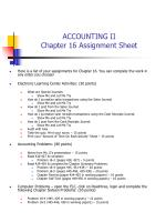 ACCOUNTING II Chapter 16 Assignment Sheet