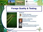 Forage Quality & Testing