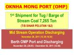 1 st  Shipment for Tug / Barge of Stream Coal 7,265 Ton (T/B SINAR PELUTAN 1&2)
