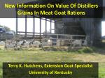 New Information On Value Of Distillers Grains In Meat Goat Rations