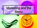 Marketing and the Menu