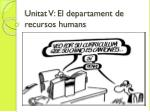 Unitat V: El departament de recursos humans