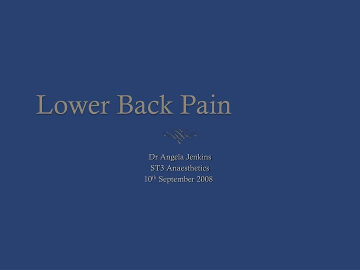 lower back pain n.