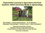 Experiential Learning in Agriculture and Food Systems: NOVA University Model in Agroecology