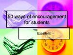 50 ways of encouragement for students