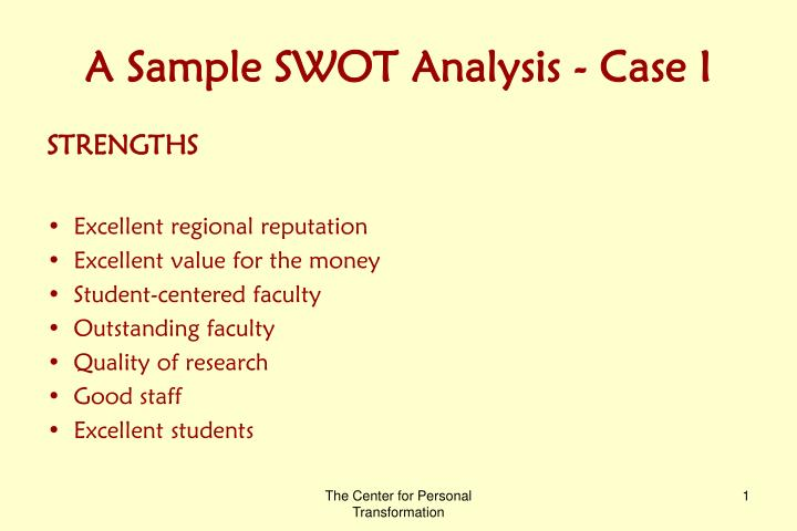 Ppt A Sample Swot Analysis Case I Powerpoint Presentation Id