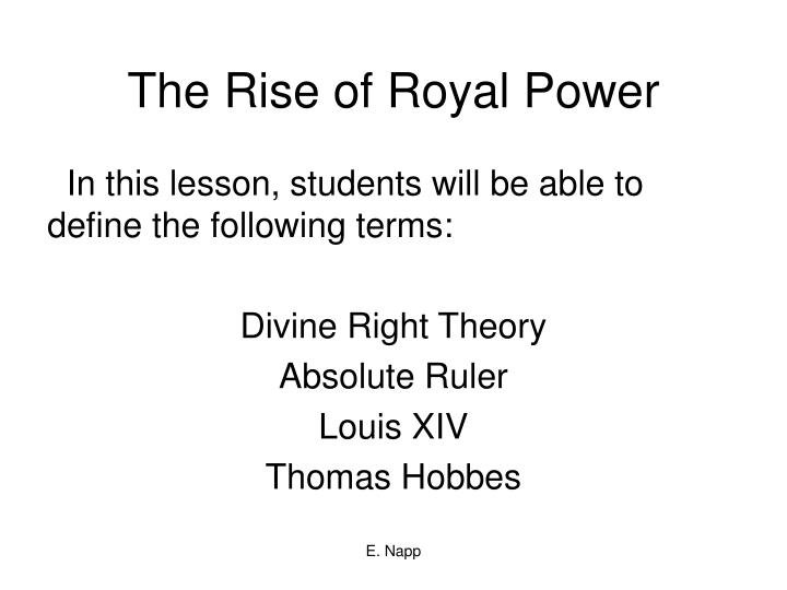 the rise of royal power n.