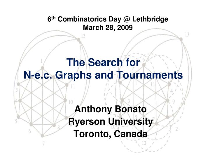 the search for n e c graphs and tournaments n.