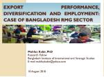Export Performance, diversification and employment: case of Bangladesh  rmg  sector
