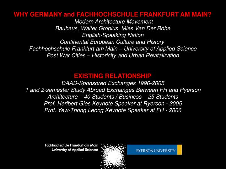 PPT - WHY GERMANY and FACHHOCHSCHULE FRANKFURT AM MAIN