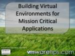 Building Virtual Environments for Mission Critical Applications