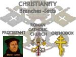 CHRISTIANITY Branches -Sects