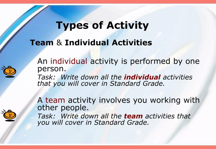 types of activity n.