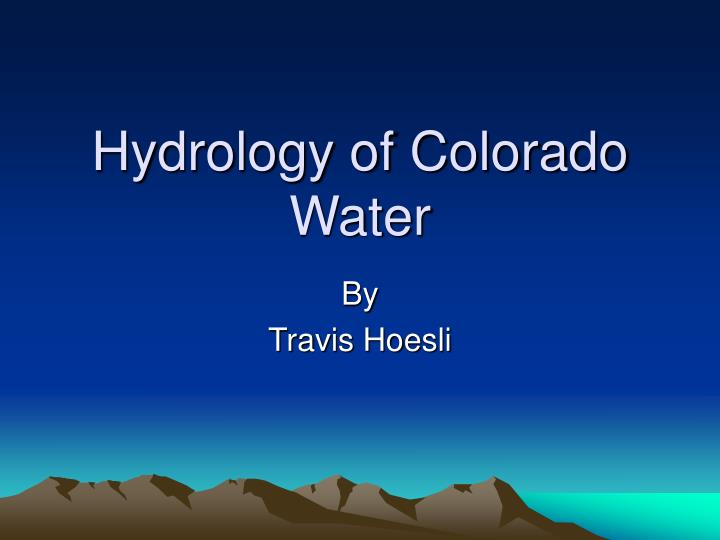 hydrology of colorado water n.