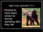 DID YOU KNOW?????