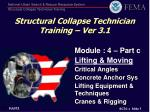 Structural Collapse Technician Training – Ver 3.1