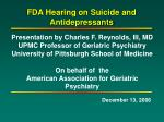FDA Hearing on Suicide and Antidepressants