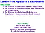Lecture # 17: Population & Environment