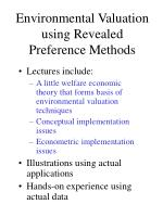 Environmental Valuation using Revealed Preference Methods