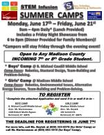 STEM Infusion SUMMER CAMPS Monday , June 17 th – Friday, June 21 st