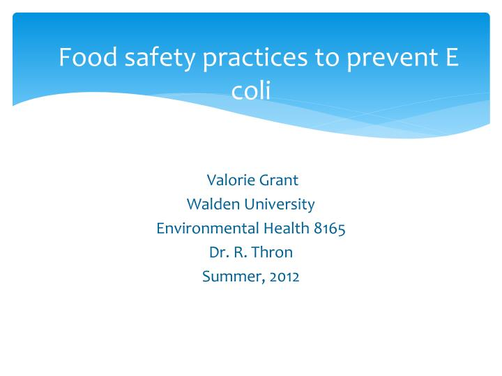 food safety practices to prevent e coli n.