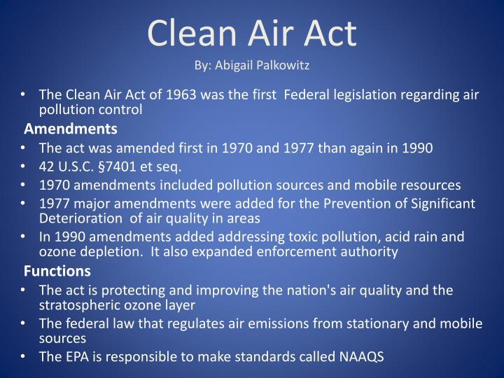 clean air act by abigail palkowitz n.