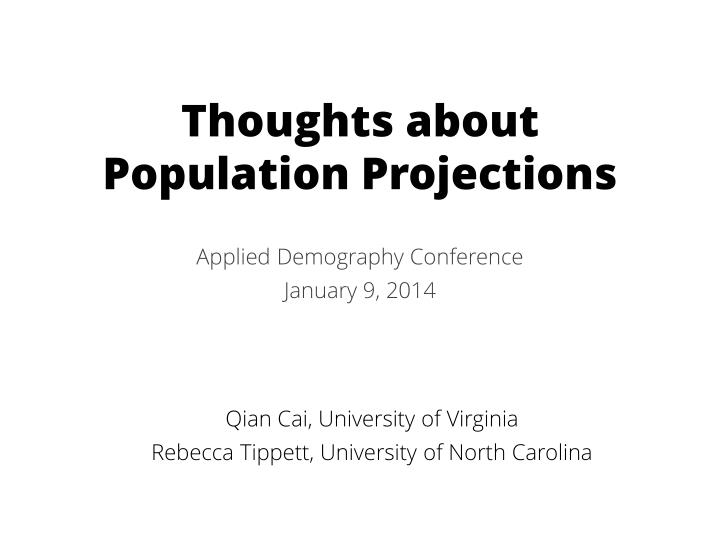 thoughts about population projections n.