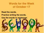 Words for the Week of October 17