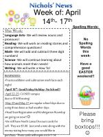 Spelling Words : No Spelling Words this week- Have a good EASTER weekend !!