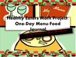Healthy Eaters Math Project: One-Day Menu/Food Journal