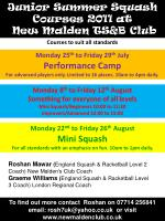 Junior Summer Squash Courses 2011 at New Malden TS&B Club