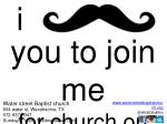 y ou to join me for church on Sunday