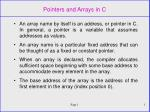 Pointers and Arrays in C