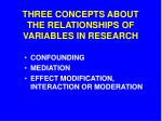 THREE CONCEPTS ABOUT THE RELATIONSHIPS OF VARIABLES IN RESEARCH
