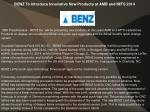 BENZ To Introduce Innovative New Products at AMB and IMTS