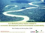 6.3. Biofuels policy issues related to economic development and environmental sustainability