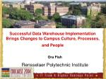 Successful Data Warehouse Implementation Brings Changes to Campus Culture, Processes, and People