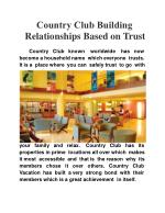 Country Club Building Relationships Based on Trust