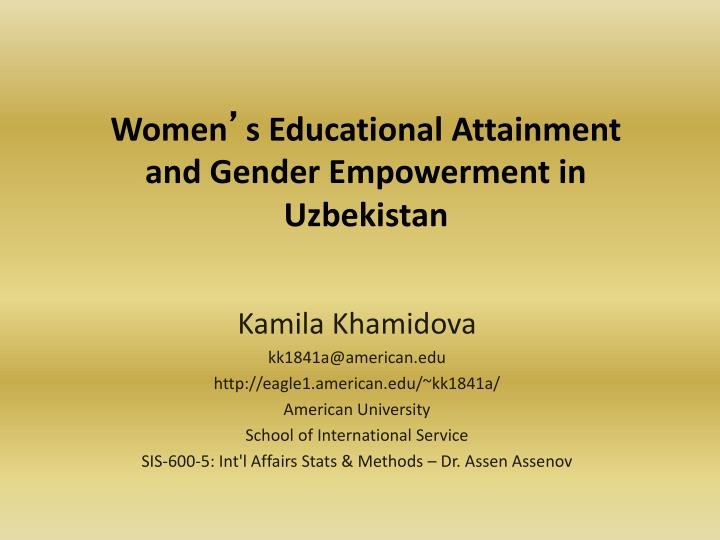 women s educational attainment and gender empowerment in uzbekistan n.