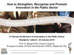 How to Strengthen, Recognise and Promote Innovation in the Public Sector
