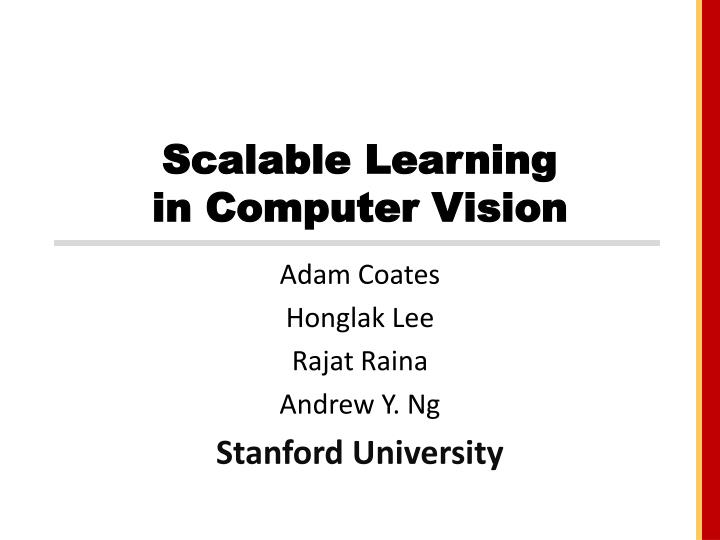 scalable learning in computer vision n.