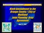 Ninth Amendment to the Orange County / City of Maitland Joint Planning  Area Agreement
