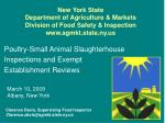 Poultry-Small Animal Slaughterhouse Inspections and Exempt  Establishment Reviews