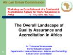 The Overall Landscape of Quality Assurance and Accreditation in Africa Dr. Yohannes Woldetensae