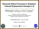 Elemental Defect Processes in Radiation-Induced Displacement Damage in Si