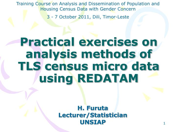 practical exercises on analysis methods of tls census micro data using redatam n.