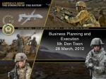 Business Planning and Execution Mr. Don Tison 28 March, 2012
